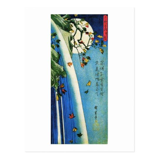 Moon Over Waterfall Hiroshige Japanese Fine Art Postcard