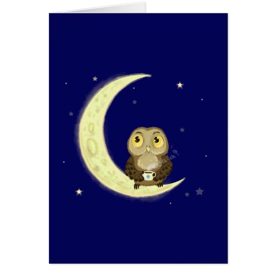 Moon owl midnight coffee card