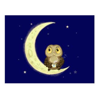 Moon owl midnight coffee postcard