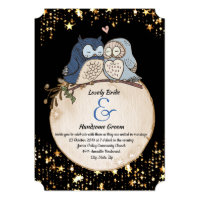 Moon Owls Watercolor Wedding Invitation