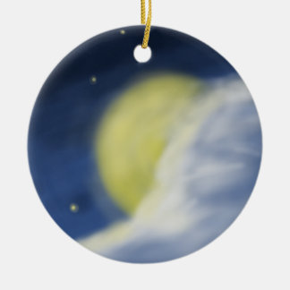 Moon Partly Hidden by a Cloud Ceramic Ornament