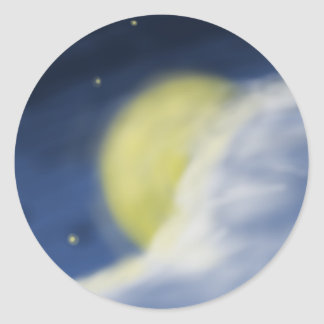 Moon Partly Hidden by a Cloud Classic Round Sticker