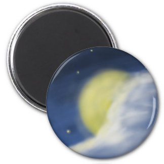 Moon Partly Hidden by a Cloud 2 Inch Round Magnet