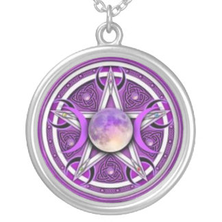 Moon pentacle round pendant necklace