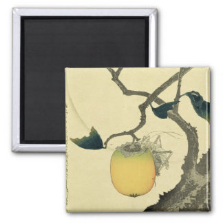 Moon, Persimmon and Grasshopper, 1807 2 Inch Square Magnet