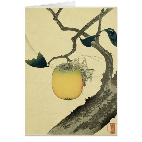 Moon, Persimmon and Grasshopper, 1807 Card