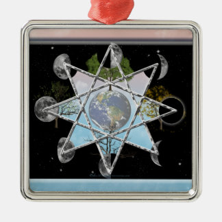 Moon Phase, Seasons Octagram Metal Ornament