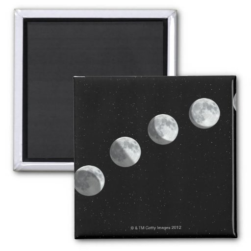 Moon phases 2 inch square magnet