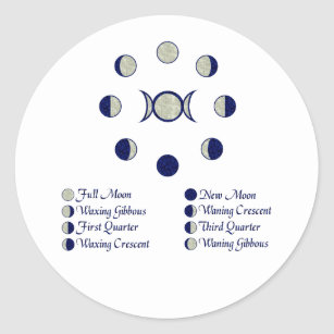 Moon Phases Classic Round Sticker