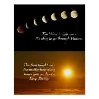 Moon Phases Sunrise Inspirational Quote Poster