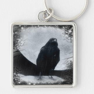 Moon Raven Silver-Colored Square Keychain