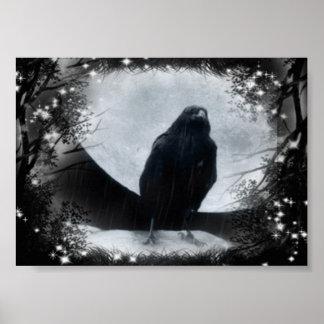 Moon Raven Poster