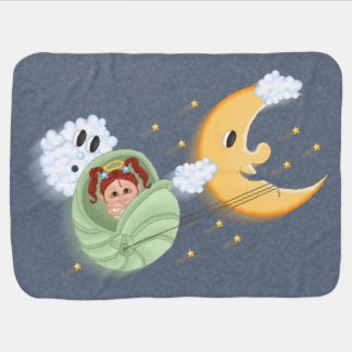 Moon Ride Seashell Carriage Pixel Art Receiving Blankets