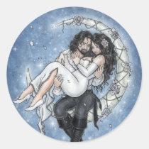 couple, romantic, love, moon, riders, wedding, bride, groom, dress, romance, vampire, angel, fairy, fae, faeries, fantasy, art, dark, goth, gothic, sky, star, space, galactic, flowers, rose, married, marry, victorian, renaissance, zerick, delphine, levesque, demers, vampires, Sticker with custom graphic design