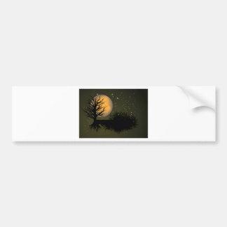 Moon Rise ~ Full Moonrise Tree & Night Sky Car Bumper Sticker