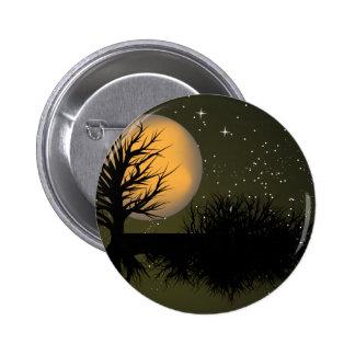 Moon Rise ~ Full Moonrise Tree & Night Sky Pinback Button