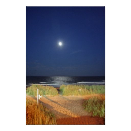 Moon Rise over Myrtle Beach Poster