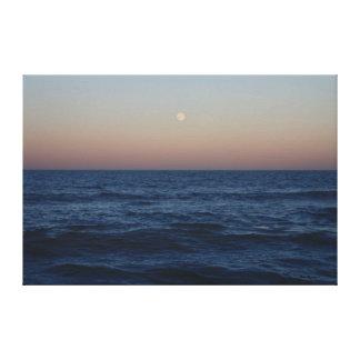 Moon Rise Over The Ocean #4686 Canvas Print