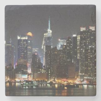 Moon rises over midtown New York. Stone Coaster