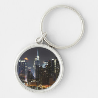 Moon rises over midtown New York. Keychain