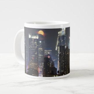 Moon rises over midtown New York. Large Coffee Mug