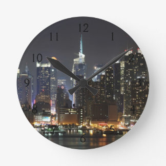 Moon rises over midtown New York. Round Wall Clock