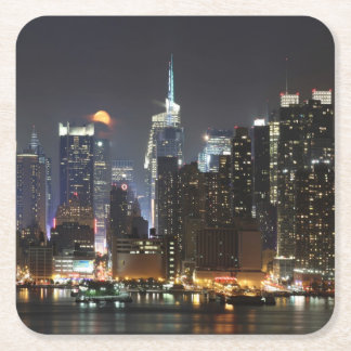 Moon rises over midtown New York. Square Paper Coaster