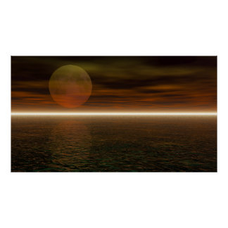 Moon Rising Aquarium Background Poster