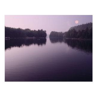 moon rising landscape postcard