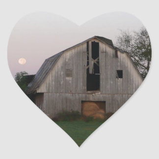 Moon Rising over Full Barn Heart Sticker
