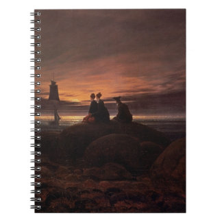 Moon Rising Over the Sea, 1822 (oil on canvas) Spiral Notebook