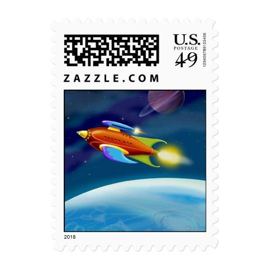 Moon Rocket Postage