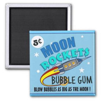 Moon Rockets Bubble Gum 2 Inch Square Magnet