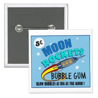 Moon Rockets Bubble Gum Button