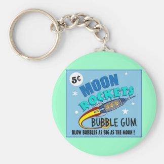 Moon Rockets Bubble Gum Basic Round Button Keychain