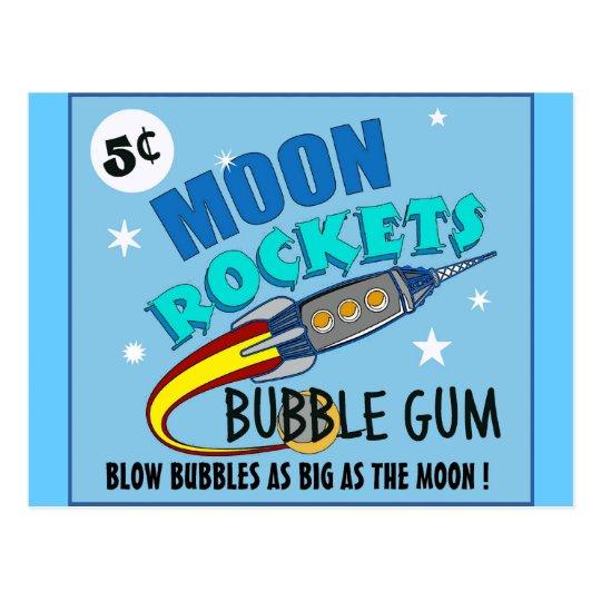 Moon Rockets Bubble Gum Postcard