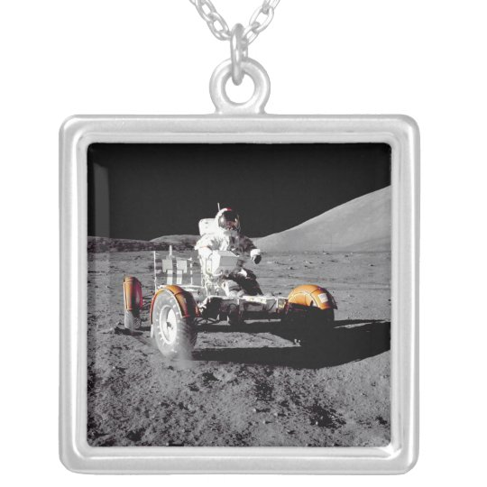 Moon Rover - Watch For Pedestrians! Silver Plated Necklace