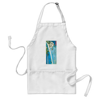 Moon Seen through Maple Leaves and Waterfall Adult Apron