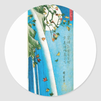 Moon Seen through Maple Leaves and Waterfall Classic Round Sticker