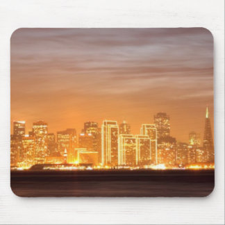 Moon setting over San Francisco on hazy December Mouse Pad
