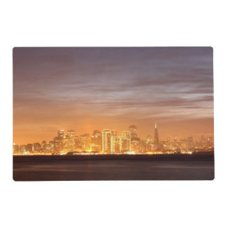 Moon setting over San Francisco on hazy December Placemat