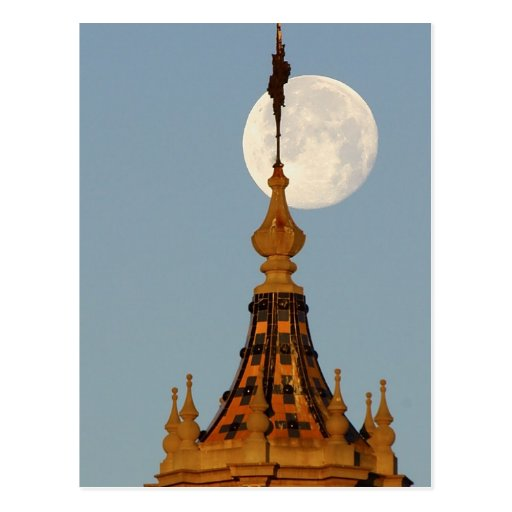 Moon Setting Over Tower Postcards