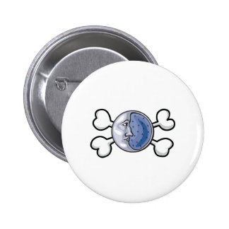 moon Skull and Crossbones Buttons