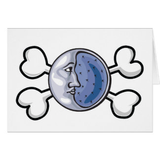 moon Skull and Crossbones Card