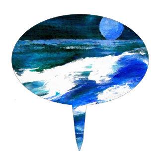 Moon Song Ocean Waves Art - CricketDiane Cake Topper