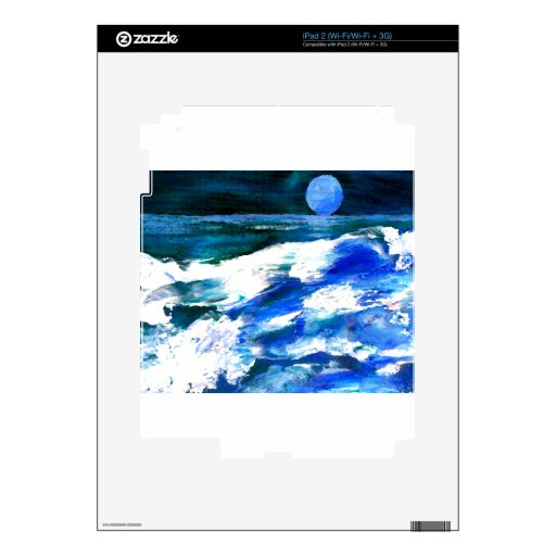 Moon Song Ocean Waves Art - CricketDiane iPad 2 Decals