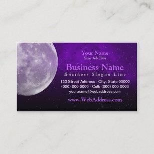Space business cards templates zazzle moon space photo business card purple colourmoves