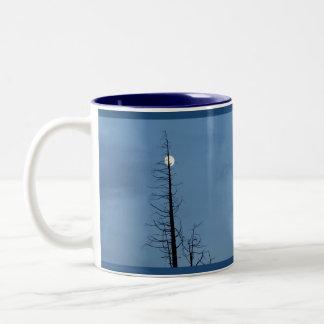 Moon Speared By Tree Two-Tone Coffee Mug