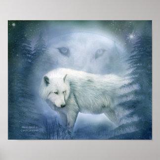 Moon Spirit 2 - White Wolf Fine Art Poster/Print Poster