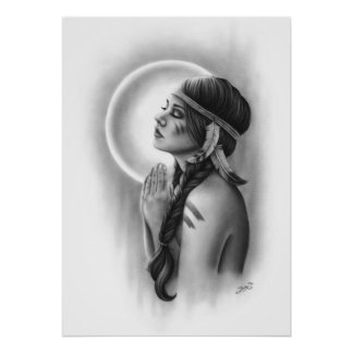Moon Spirit Native Feather Girl Poster